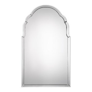 Gorgeous Frameless Venetian Arch Wall Mirror, Vanity Curved Glass Frame