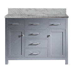 Caroline Single Bathroom Vanity Set, Gray, White Square
