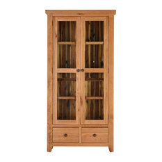 Traditional Oak Glazed Display Cabinet With Drawers