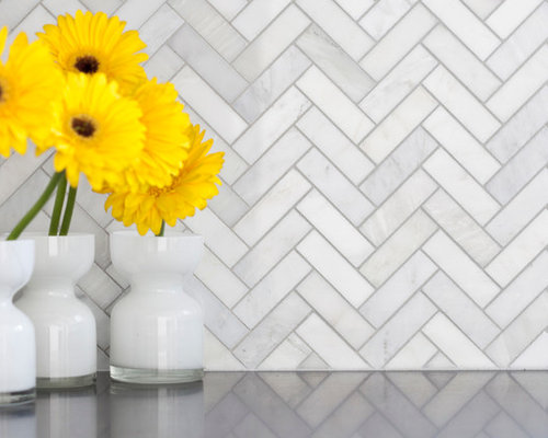 Carrara venato herringbone home design ideas, pictures, remodel ...