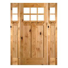"""Knotty Alder Craftsman Door, 64""""x96""""x1.75"""", 2 Sidelites, L-Hand"""