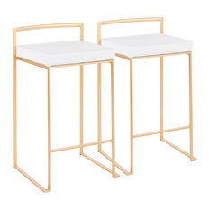 LumiSource - Fuji Stackable Counter Stools, Gold With White Velvet Cushion, Set of 2 - Bar Stools and Counter Stools