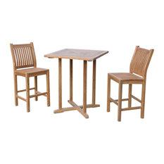 Teak 3-Piecec Bar Set, 2 Chairs, 1 Table