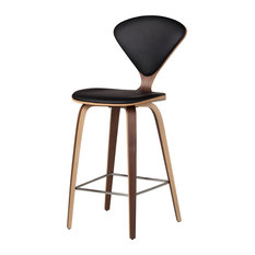 Satine Inspired Stool, Black Leather, Bar Height