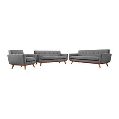 Modway - Engage Sofa Loveseat and Armchair Set of 3, Expectation Gray - Living Room Furniture Sets