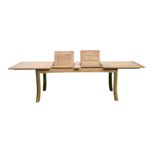"""117"""" Double Extension Rectangular Dining Outdoor Teak Table"""