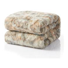 """Tache Super Soft Brown Russian Lynx Faux Fur Throw Blanket, 90""""x 90"""""""