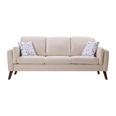 Winston Linen Sofa Couch With USB Charger and Tablet Pocket, Beige