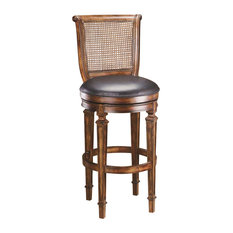 Hillsdale Furniture Hillsdale Dalton Cane Back Counter Stool with Leather Seat Dist Cherry