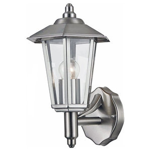 Contemporary Stainless Steel Outdoor Wall Light with Clear Glass