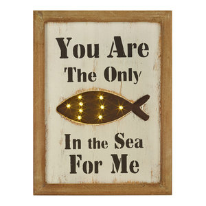 Framed LED Fish Picture With Text, 30x76 cm
