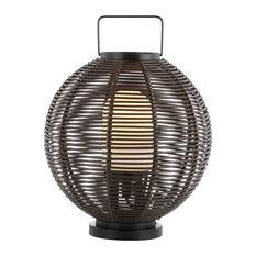 "Jigu 22"" Outdoor Woven Globe Asian LED Lantern, Coffee"