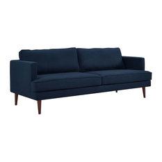 Agile Upholstered Fabric Sofa, Blue