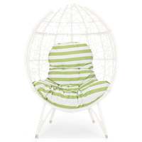 Amaryllis Outdoor Wicker Teardrop Chair With Cushion, White/Green