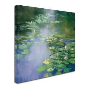 Julia Purinton 'Blue Lily II' Canvas Art (35 in. W x 35 in. H)