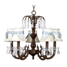 5-Arm Mocha Waterfall Chandelier With Ivory Shades