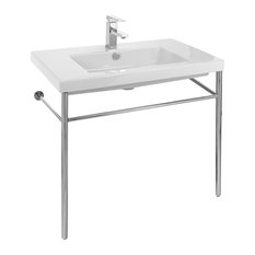 Ceramic Console Sink With Polished Chrome Stand, 1-Hole