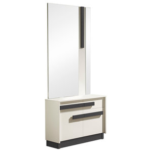 2-Piece Shoe Rack and Striped Mirror Set, White and Ash