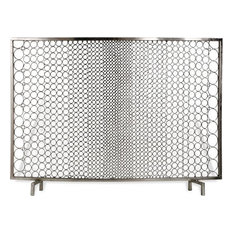 Interlude Sabrina Modern Classic Polished Nickel Ring Fire Place Screen