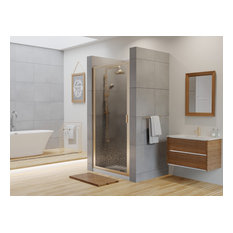 """Paragon Framed Continuous Hinge Shower Door, Obscure, Brushed Nickel, 34""""x82"""""""