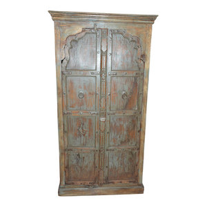 Mogul Interior - Consigned Antique Indian Armoire Cabinet Distressed Wood Jodhpur - Armoires And Wardrobes