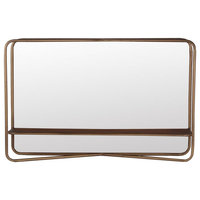 Dark Gold Metal Rectangular Mirror With Shelf