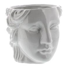 Grecian Ceramic Head Vase Female, Woman Flower Cache Pot Sculpture Classical