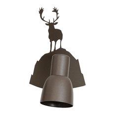 Iron Winter Scene Bell Shade Wall Light, Elk