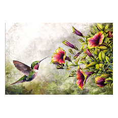 """Hummingbird and Morning Glory Water"" Oil Painting Print on Wrapped Canvas"