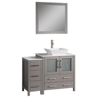"Vanity Art Vanity Set With Vessel Sink, Gray, 42"", Standard Mirror"