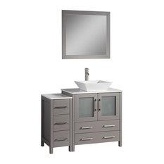 "Vanity Art Vanity Set With Vessel Sink, Gray, 42"", Standard Mirror"