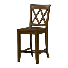 Standard Furniture Vintage X-Back Counter Height Stool, Set of 2, Brown 11337