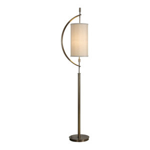 Brass Gold Suspended Shade Floor Lamp, Midcentury Modern Bow