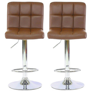 Set of 2 Bar Stools, Faux Leather Back and Footrest, Coffee