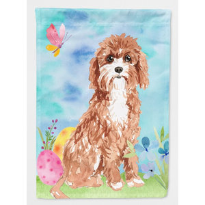 Easter Eggs Cavapoo Flag Garden Size - Contemporary - Flags And