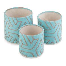 Kenley 3-Piece Nesting Storage Basket Set, Patterned Turquoise, Grey Cotton