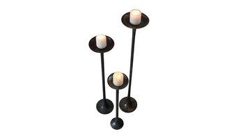 Cast Aluminum Candle Stands, Antique Black  Set of 3