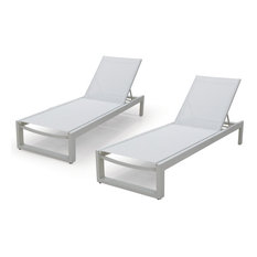 Modern All-weather Adjustable Outdoor Patio Chaise Lounge Furniture, White, 2 Pi