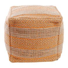 Diamond and Stripe Pattern Jute Pouf, Orange