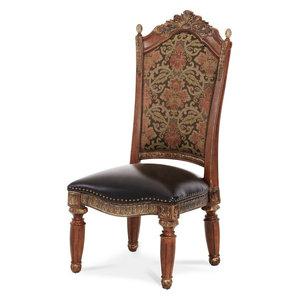 AICO Villa Valencia Side Chair, Classic Chestnut, Set of 2