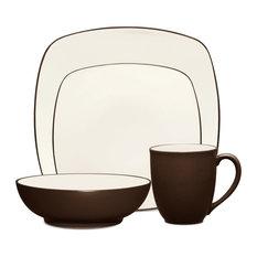 Noritake Colorwave Chocolate Square 4-Piece Dinnerware Set, Set of 12