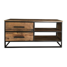 Sawn Finish Industrial 2-Drawer TV Unit With Iron Frame