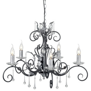 Traditional Black-Silver 5-Arm Chandelier With Clear Glass