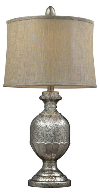 Emma Antique Mercury Glass Table Lamp With Metallic Gray Linen Shade