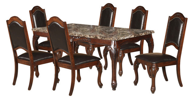 Superbe 7 Piece Faux Marble Table Top Dining Set, Cherry