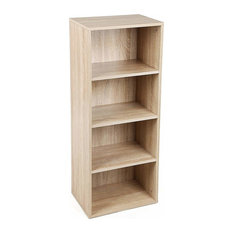 Contemporary Bookcase, Solid Wood With 4-Compartment, Perfect for Storage, Oak