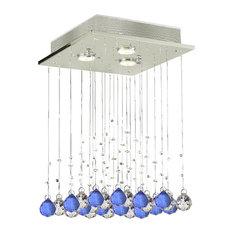 3-Light Modern Crystal Raindrop Flush Chandelier With Blue Crystal Balls