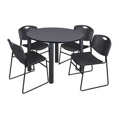 Kee 48-inch Round Breakroom Table Gray/ Black And 4 Zeng Stack Chairs Black