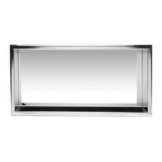 "Horizontal Single Shelf Bath Shower Niche, 24""x12"", Polished Stainless Steel"