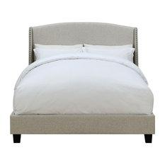"""HomeFare - Pulaski DS-D117-290-485 Queen Shelter Back Upholstered Bed, 83.0"""" x 68.5"""" x 51.0 - Panel Beds"""